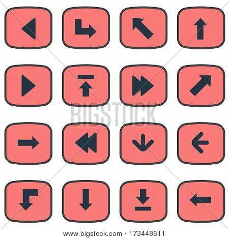 Set Of 16 Simple Cursor Icons. Can Be Found Such Elements As Let Down, Pointer, Downwards Pointing And Other.