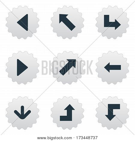 Set Of 9 Simple Indicator Icons. Can Be Found Such Elements As Downwards Pointing, Left Direction, Indicator And Other.