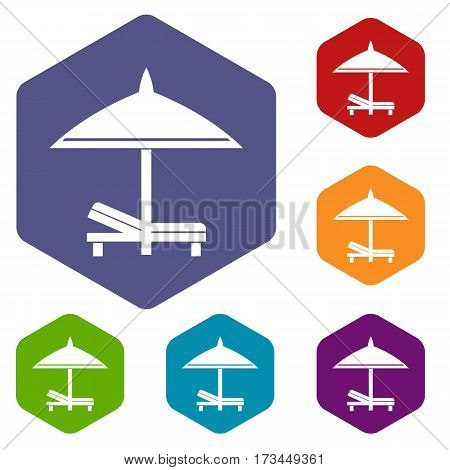 Bench and umbrella icons set rhombus in different colors isolated on white background