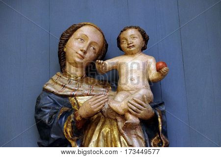 ZAGREB, CROATIA - JUNE 18: Virgin and Child, 15th century, from the church of the Queen of the Holy Rosary in Remetinec exhibited in the Museum of Arts and Crafts in Zagreb, on June 18, 2015.