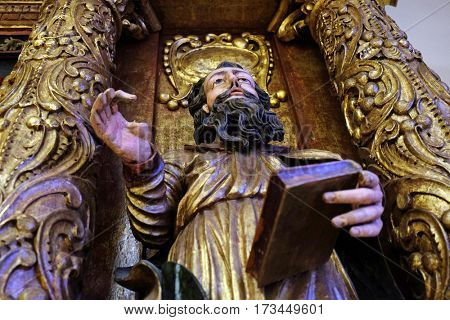 ZAGREB, CROATIA - JUNE 18: Saint Paul, 15th century, from the church of the Queen of the Holy Rosary in Remetinec exhibited in the Museum of Arts and Crafts in Zagreb, on June 18, 2015.