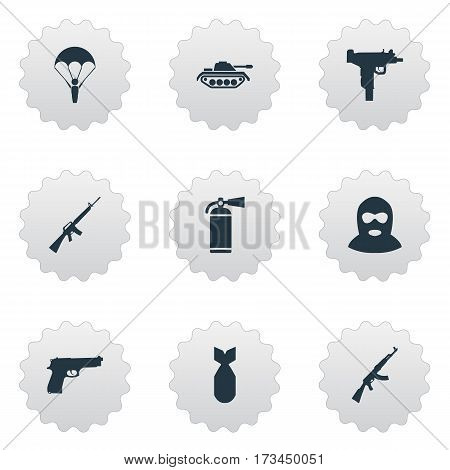 Set Of 9 Simple Military Icons. Can Be Found Such Elements As Kalashnikov, Firearm, Terrorist And Other.