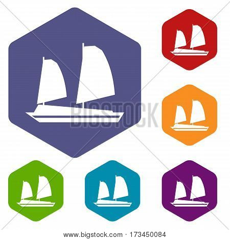 Vietnamese junk boat icons set rhombus in different colors isolated on white background