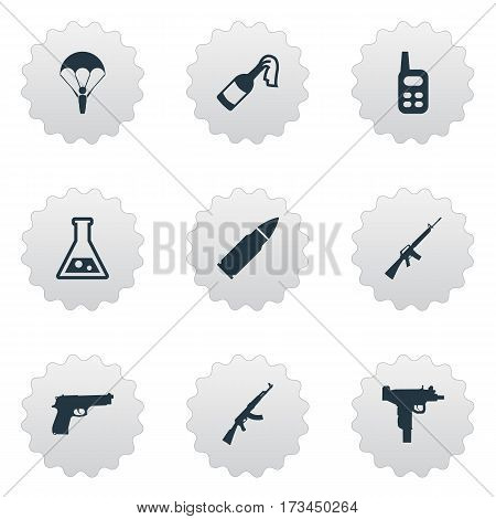 Set Of 9 Simple War Icons. Can Be Found Such Elements As Pistol, Paratrooper, Kalashnikov And Other.