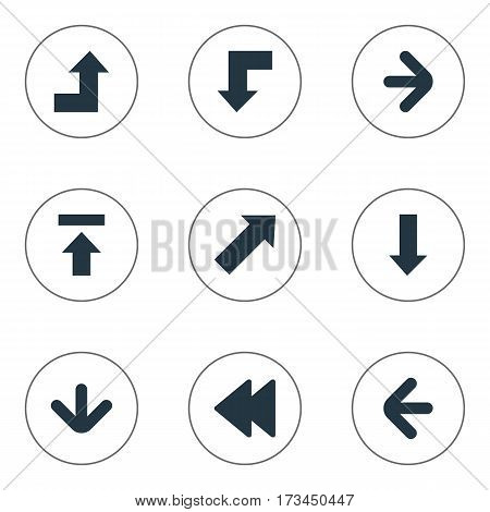 Set Of 9 Simple Arrows Icons. Can Be Found Such Elements As Left Direction, Downwards Pointing, Reduction And Other.