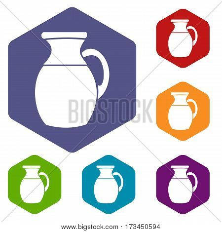 Jug of milk icons set rhombus in different colors isolated on white background