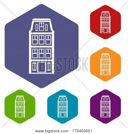 Dutch houses icons set rhombus in different colors isolated on white background