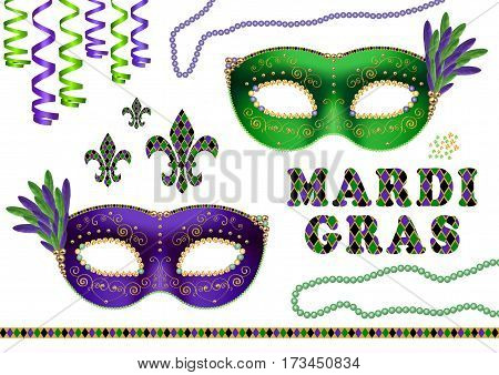 mardi gras fat tuesday elements green and purple masks fleur de lis and beads isolated on white background