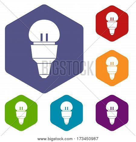 Reflector bulb icons set rhombus in different colors isolated on white background