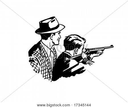 Father And Son Shooting - Retro Clip Art