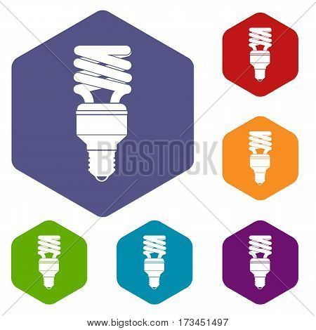 Energy saving bulb icons set rhombus in different colors isolated on white background