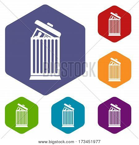 Resume thrown away in the trash can icons set rhombus in different colors isolated on white background
