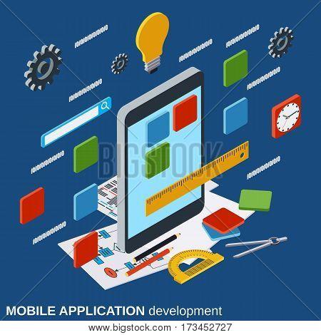 Mobile application development, program coding flat isometric vector concept