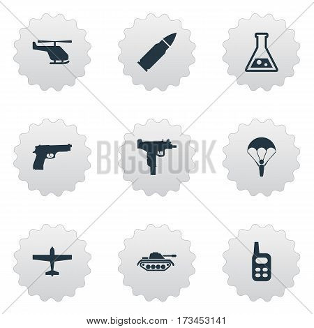 Set Of 9 Simple Terror Icons. Can Be Found Such Elements As Helicopter, Chemistry, Heavy Weapon And Other.