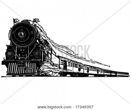 Steam Locomotive - Retro Clip Art