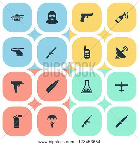 Set Of 16 Simple Military Icons. Can Be Found Such Elements As Cold Weapon, Heavy Weapon, Paratrooper And Other.