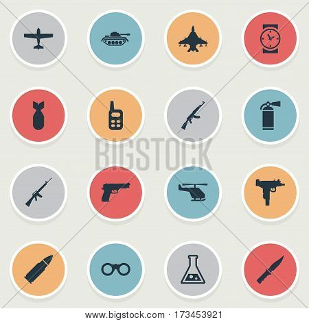 Set Of 16 Simple Battle Icons. Can Be Found Such Elements As Walkies, Nuke, Sky Force And Other.