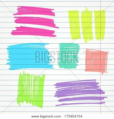 set of hand drawn highlighter colorful elements such as underlines, strokes and squares