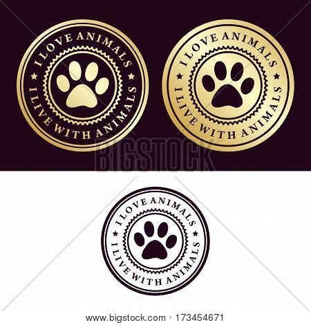 An illustration of a gold emblem I love animals.