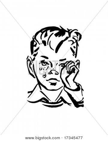 Crying Boy - Retro Clip Art