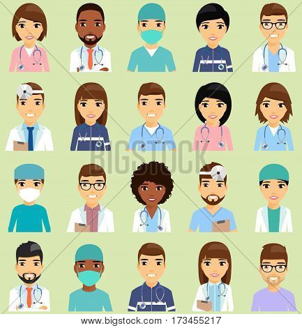 Icons with doctors. The doctors of different specializations. African Americans, Europeans. Isolated flat style