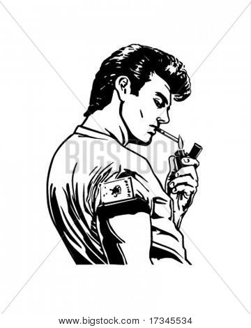 Greaser Lighting Cigarette - Retro Clip Art