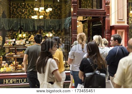 MELBOURNE, AUSTRALIA - January 12, 2017: People queuing in front of the Hopetoun Tea Rooms established in 1892 in The Block Arcade Melbourne Australia