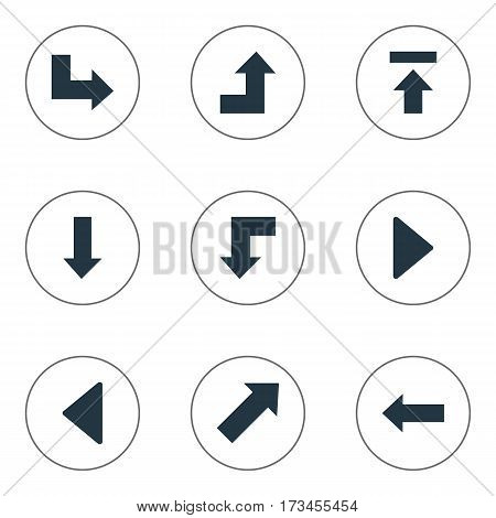 Set Of 9 Simple Indicator Icons. Can Be Found Such Elements As Right Landmark, Pointer, Indicator.