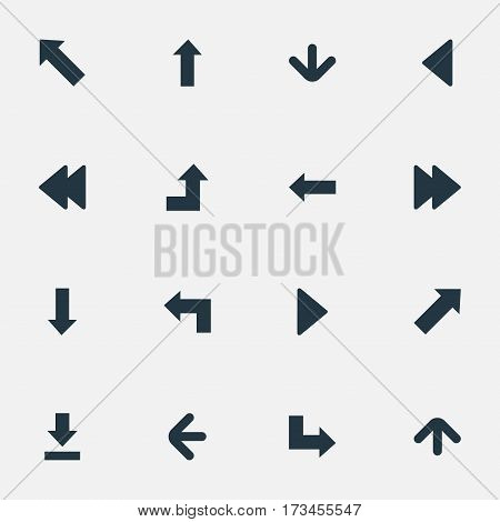 Set Of 16 Simple Indicator Icons. Can Be Found Such Elements As Indicator, Pointer, Left Direction And Other.