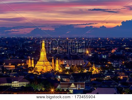 Wat Arun Temple of a dawn in Bangkok Thailand .Bangkok is the most populated city in Southeast Asia. Bangkok Thailand