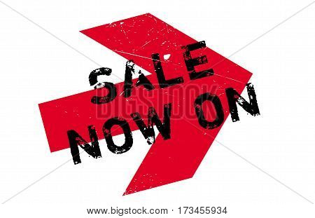 Sale Now On rubber stamp. Grunge design with dust scratches. Effects can be easily removed for a clean, crisp look. Color is easily changed.