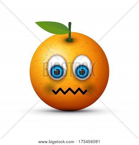 an abstract orange looking rather sick emoji