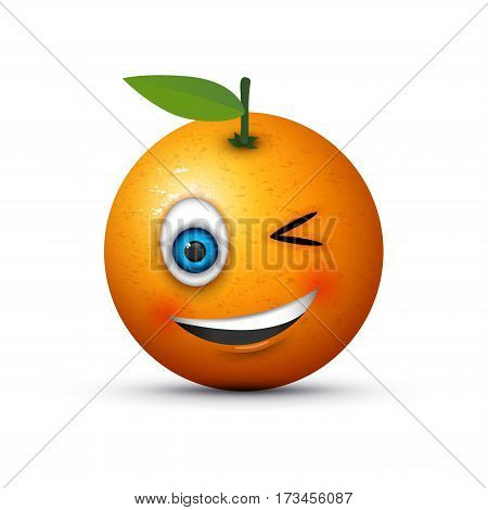 an abstract orange winking emoji with a smile