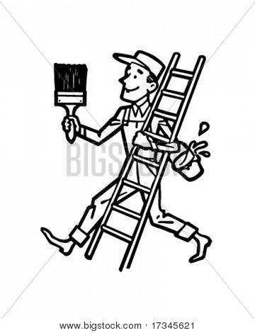 Painter With Ladder - Retro Clip Art
