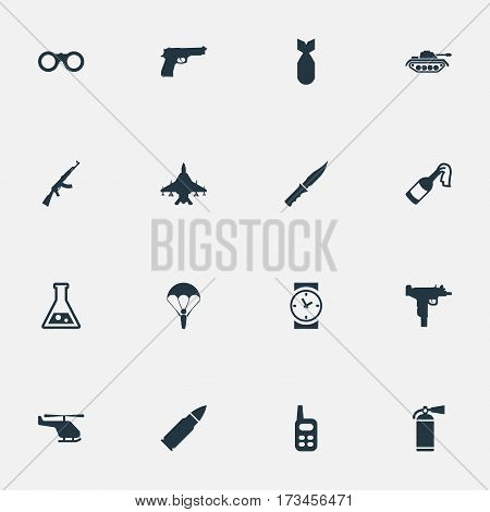 Set Of 16 Simple War Icons. Can Be Found Such Elements As Helicopter, Nuke, Field Glasses And Other.