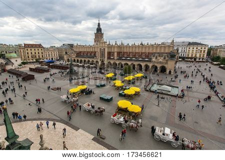 KRAKOW, POLAND - SEP 20, 2016: Main Market Square. Project for Public Spaces lists the square as the best public space in Europe due to its lively street life. 13th century, at roughly 40,000 m2.
