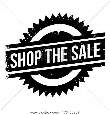 Shop The Sale rubber stamp. Grunge design with dust scratches. Effects can be easily removed for a clean, crisp look. Color is easily changed.