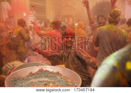 Vrindavan, India - March 21, 2016: Holi celebration at Gopinath Temple in Vrindavan, Uttar Pradesh, India.
