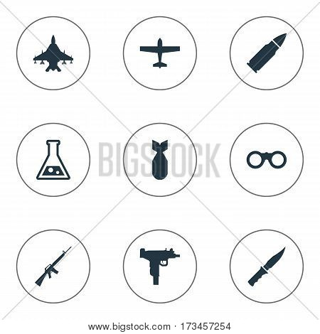 Set Of 9 Simple War Icons. Can Be Found Such Elements As Chemistry, Sky Force, Cold Weapon And Other.