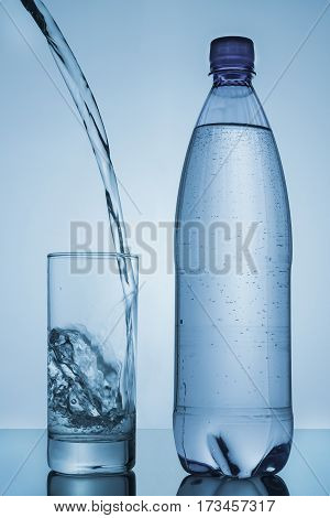 water poured into glass and bottle on blue background
