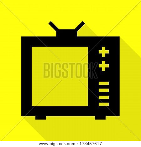 TV sign illustration. Black icon with flat style shadow path on yellow background.