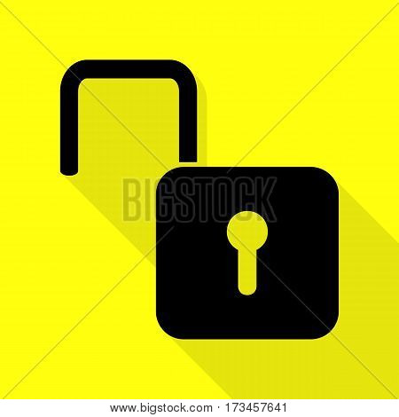 Unlock sign illustration. Black icon with flat style shadow path on yellow background.