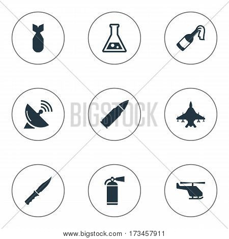 Set Of 9 Simple Army Icons. Can Be Found Such Elements As Signal Receiver, Cold Weapon, Molotov And Other.