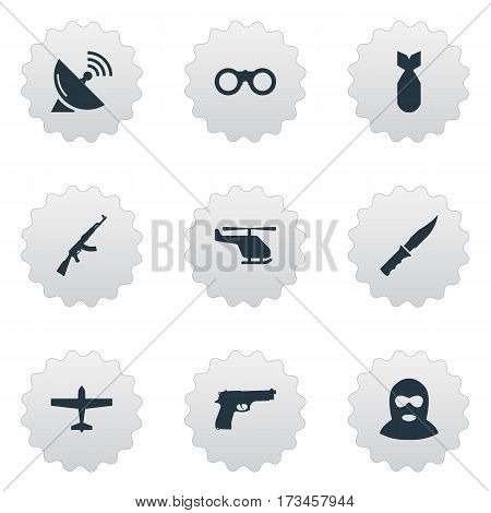 Set Of 9 Simple Military Icons. Can Be Found Such Elements As Kalashnikov, Cold Weapon, Pistol And Other.