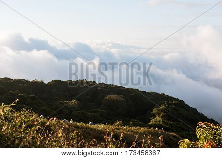 Mountain landscaped with group of people trekking on the Kew Mae Parn, National Park mountain in Thailand