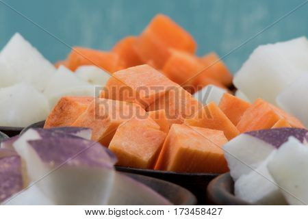Cubes Of Sweet Potatoes And Turnips