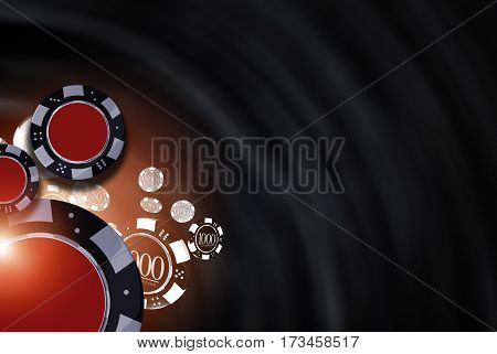 Black Casino Background Illustration with 3D Rendered Casino Chips.