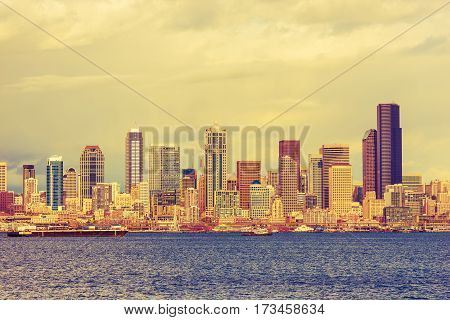 City of Seattle Waterfront. Washington State United States. Seattle Daylight.