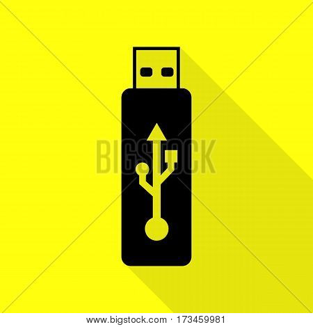 Vector USB flash drive sign. Black icon with flat style shadow path on yellow background.