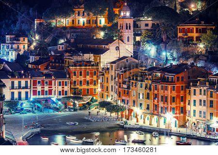 Night in the Village of Portofino in Italian Riviera. Famous Portofino Marina and the Cityscape at Night.